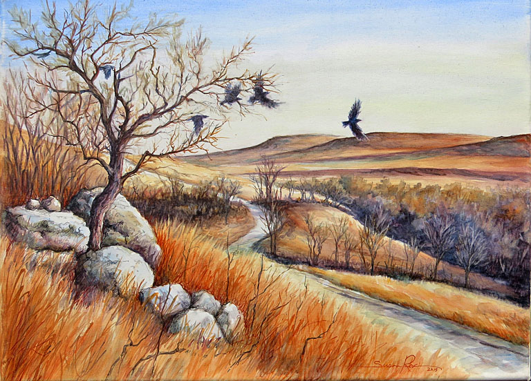 As the Crow Flies  12x16  wc  $425 fr