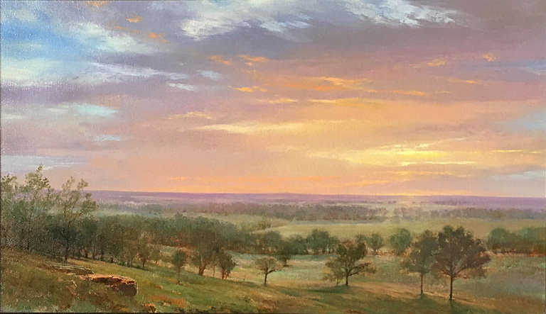 Mark Flickinger Sunset, Waugh Place (2016)  14x24 op $2,600 fr SOLD
