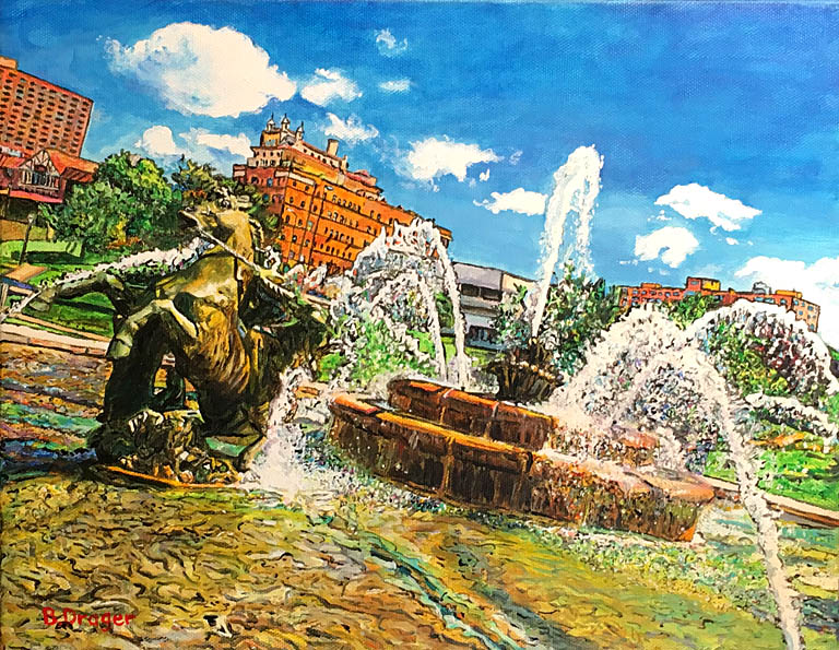 Becky Drager Horsing Around In The Fountain 11x14 ac $449