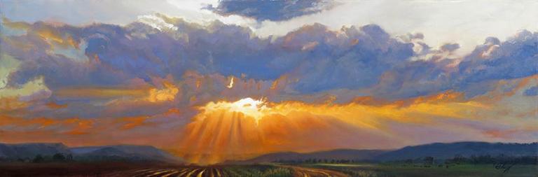 John Hulsey Into the Valley of Light 12x36 ol $2,750 fr