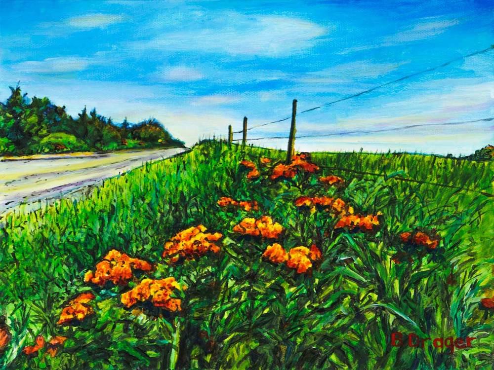 Becky Drager Roadside Orange  9x12 ac $280 uf