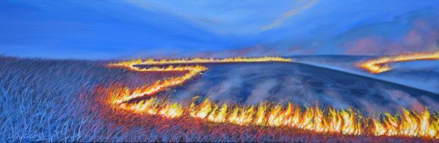 Louis Copt Burning Prairie  12x36 oc $1,950 uf