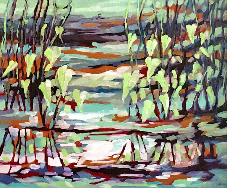 Carol McCall Spring Pond  20x24 oc $1,200 fr