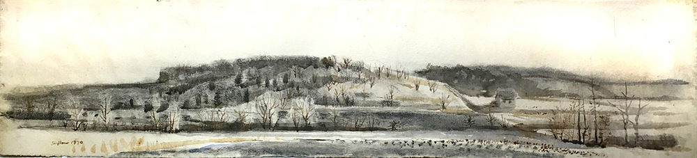 Robert Sudlow Into the Lee (1970)  8x40 ink wash drawing $750 fr