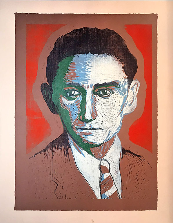 Kafka  30x24  reduction color woodcut  SOLD