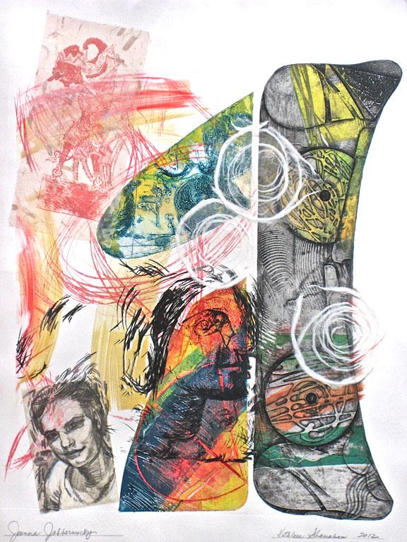 Joanna Jabberwocky, 22x30, mixed process printmaking $500