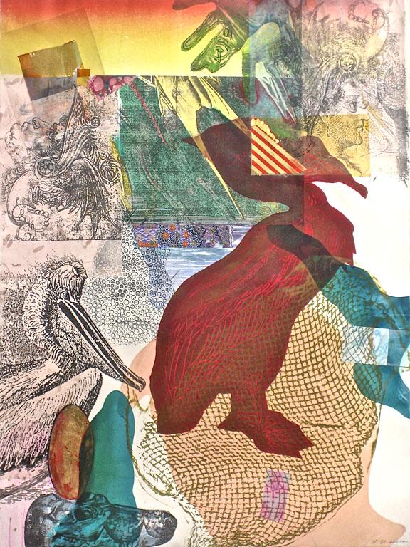 Pelican Peninsula, Profiled; 22x30, mixed process printmaking $500 fr