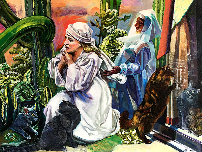 Sister Seraphim and Supplicant (Sister and Her 97 Cats Series)  35x48  ac  $1,400 uf