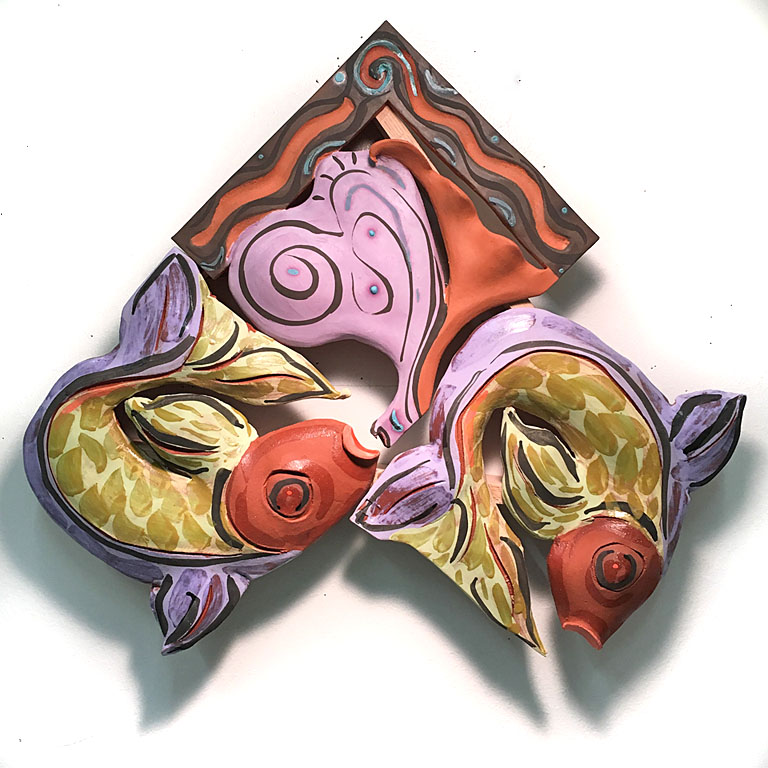 Two Fish Leaf  22x18x3  ceramic  $700
