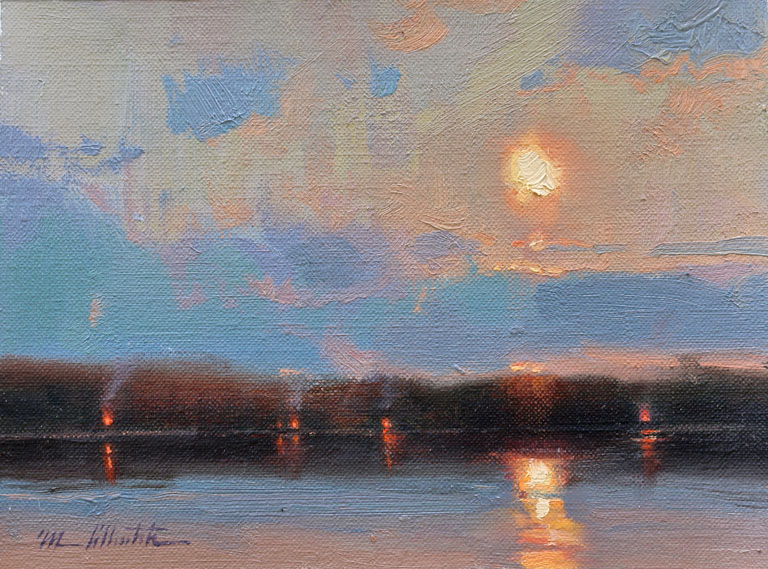 Sunset and Campfires  6x8  oc  SOLD