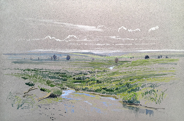 Flint Hills Lowlands  8x12  pencil and watercolor on board  SOLD