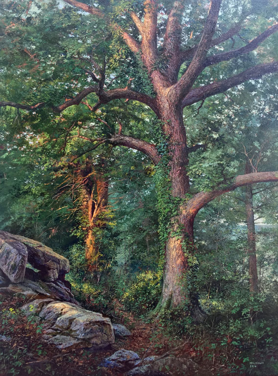Great Pecan Along a Woodland Path to the River   Mark Flickinger 32x24  oc  $4,100 fr