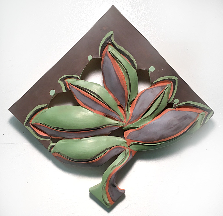 Coral Leaf with Stem  8x8  ceramic  $175