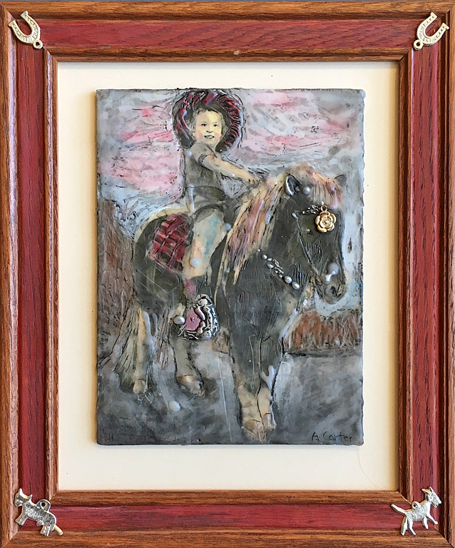 Rita Rides the Range  8x6  encaustic  $300 fr