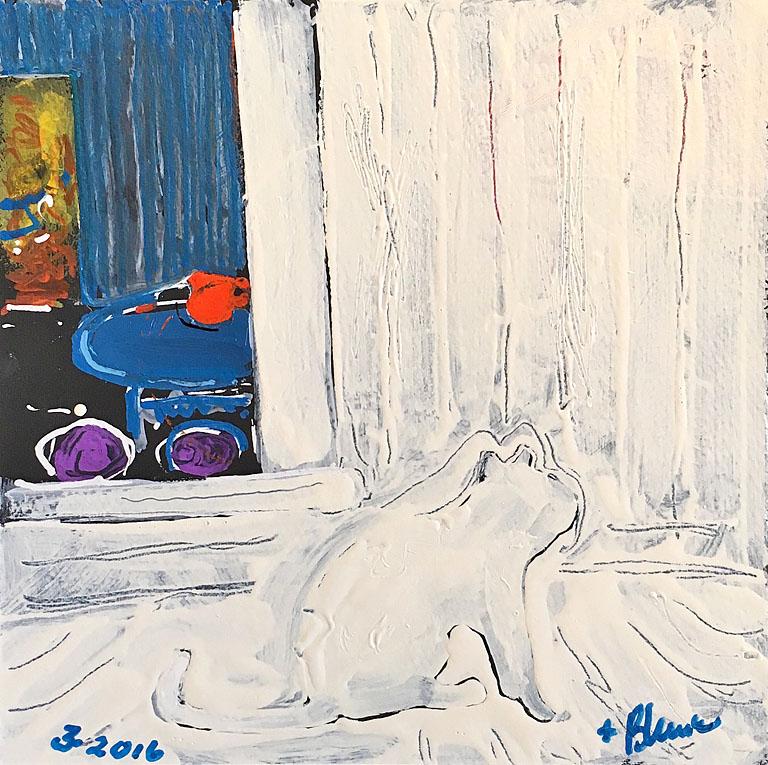 Robert Blunk White Cat and Interior  10x10 op $180 uf, $230 fr