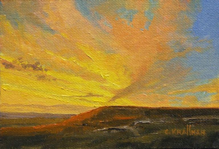 Sunset at Pawnee Rock 4x5 oc $175