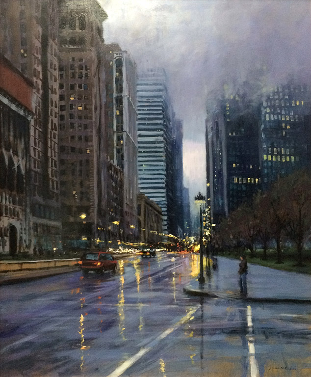 Evening in Chicago  30x24  op  $3,400 fr