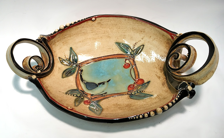Long Bird with Berries Tray (large)  ceramic  $350