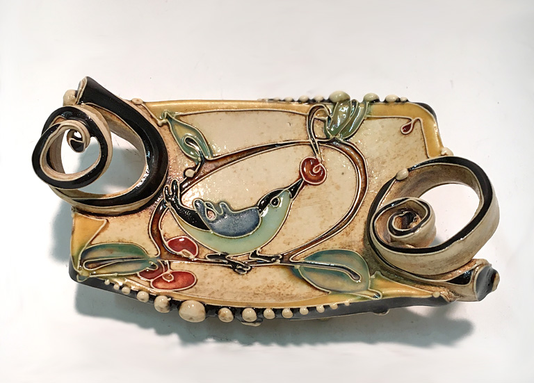 Long Bird with Berries Tray (small)  ceramic  SOLD