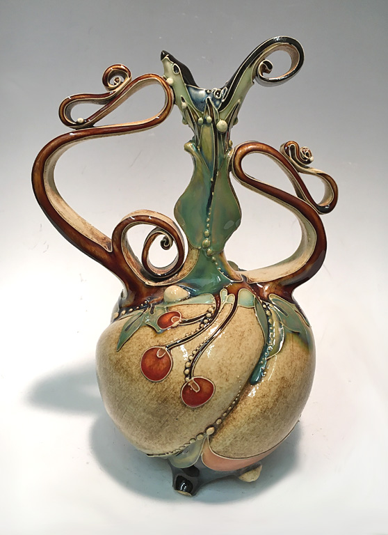 Long Bottle with Berries  ceramic  SOLD