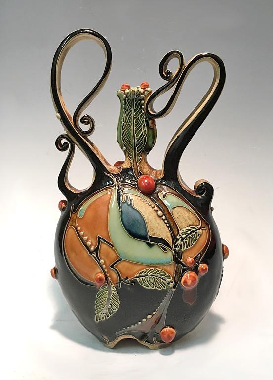 Carol Long Long Bird with Orange Bottle  ceramic SOLD