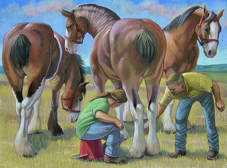 Nora Othic Three Clydesdales  29x37 pastel $1,200 fr