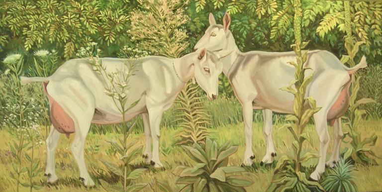 Goats, Weeds 24x48 oil $900 uf