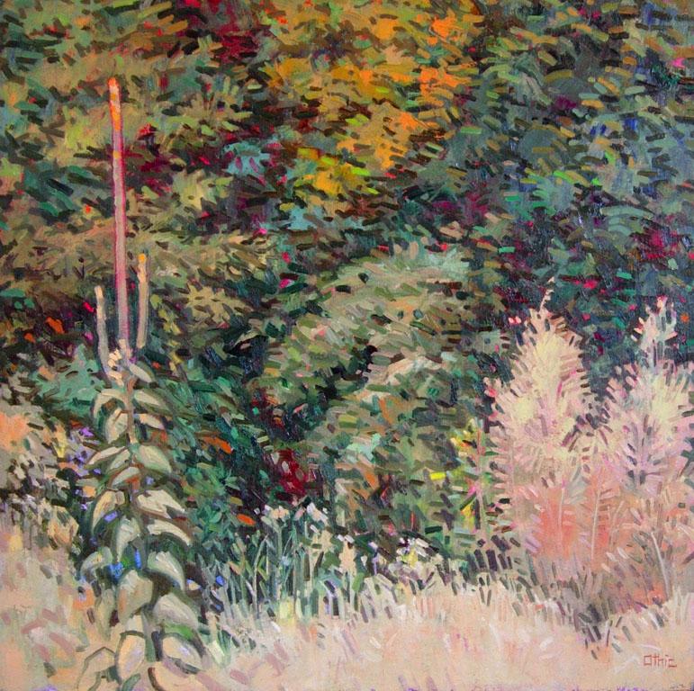 Mullein in a Landscape 16x16 oil $450