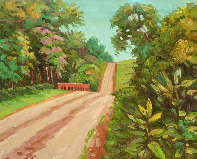 Red Bridge, August 16x20 oil $450 fr