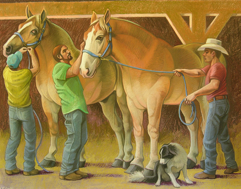 Two Draft Horses, Three Men, Dog 29x37 pastel $1,200 fr