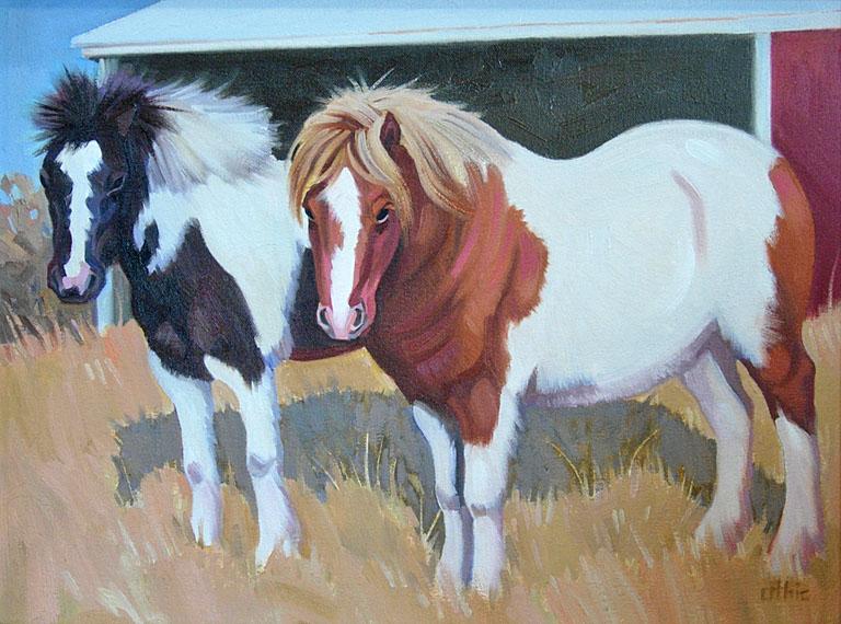 Two Shetland Ponies 12x16 oil $300