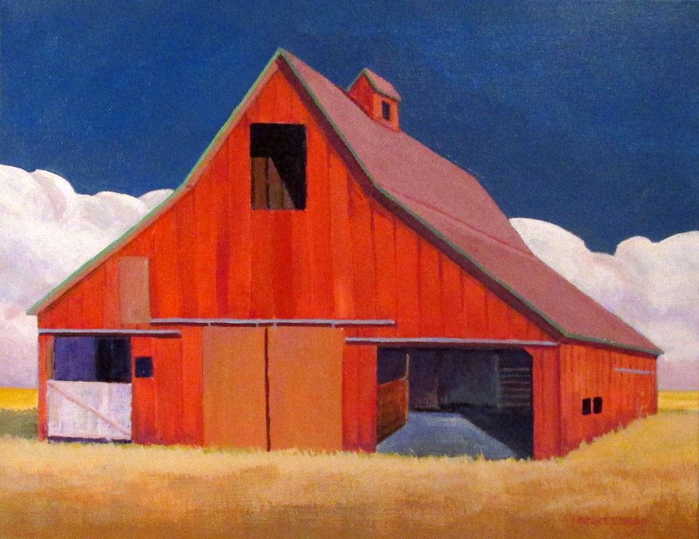 Red Barn White Gate 14x18 acwc $315 uf