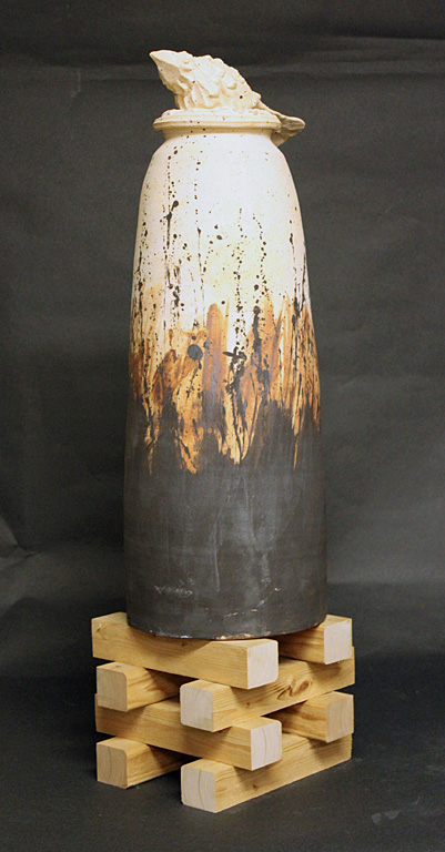 Fetish Jar 131  27 in.  stoneware, wood base  $400