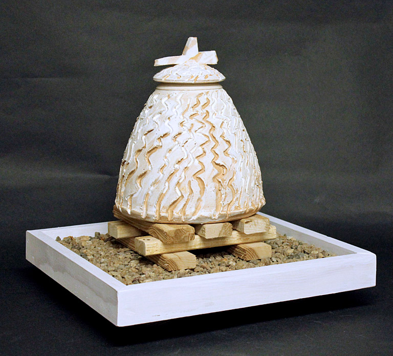 New Mexico Memory Jar 8  13x13x13  stoneware, stone, wood  $350