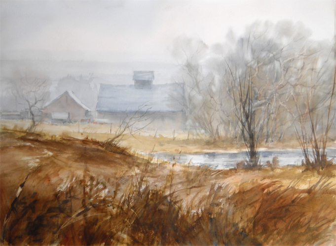 Misty Farmstead   Jim Hagan 22x30  wc  $1,900  fr