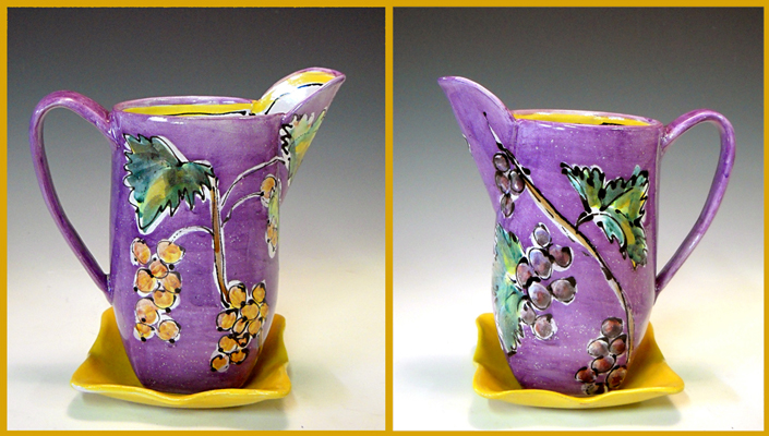 Purple Pitcher with Orange Tray Wynne Wilbur  8.5x8x4.5  ceramic  $130