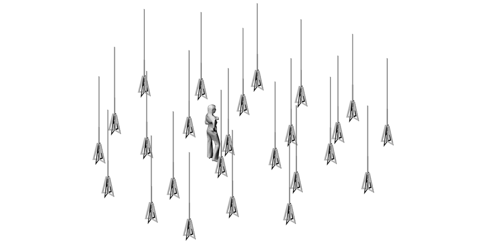 Random or clustered arrangement of the 25 vertical light quills.