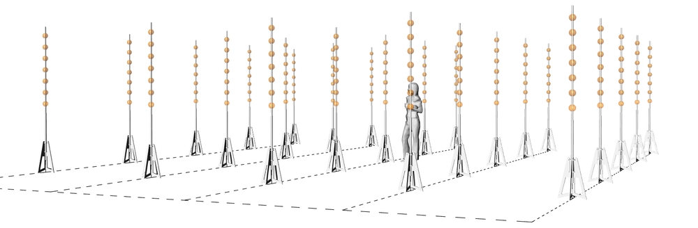 "Each ball in this diagram represents 5 uniquely addressable RGD LED lights. These can be controlled on/off or dimmed to create a range of static and dynamic ""luminous forms"". Specific points, lines, planes and volumes can be defined within this 3d field."