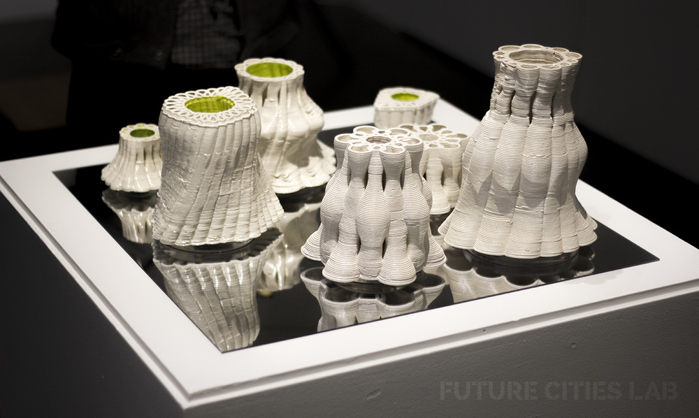 Serpentine Ceramic Vessels 3d printed by Future Cities Lab