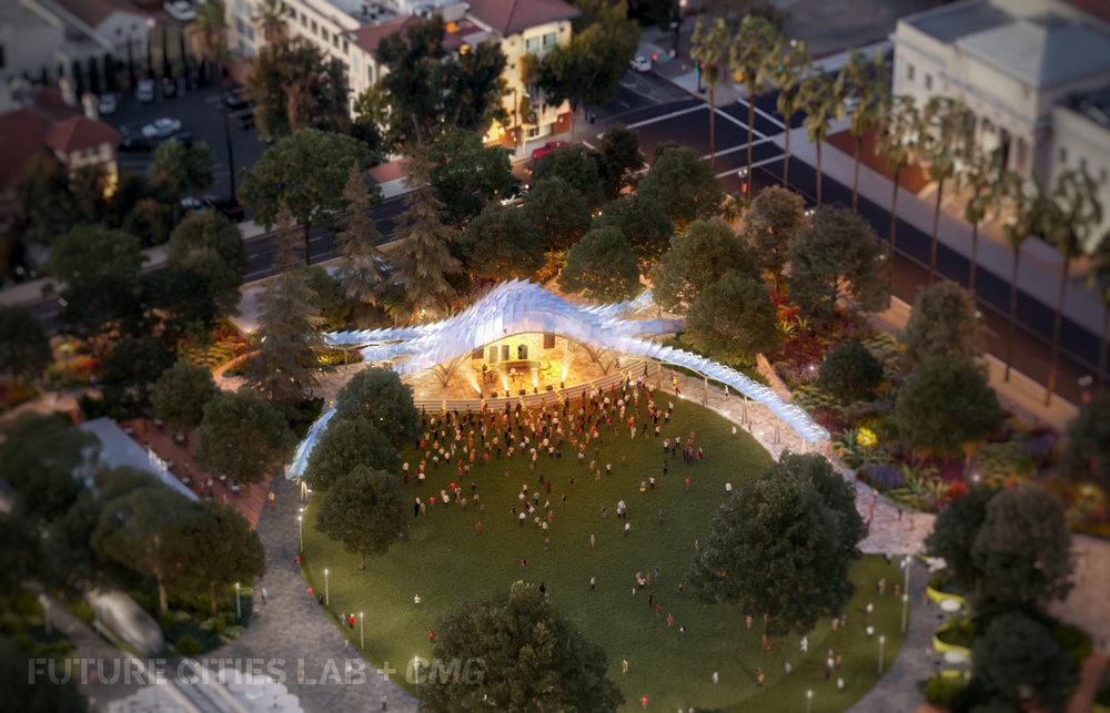 Aerial Rendering of our St James Park San Jose Levitt Pavilion design