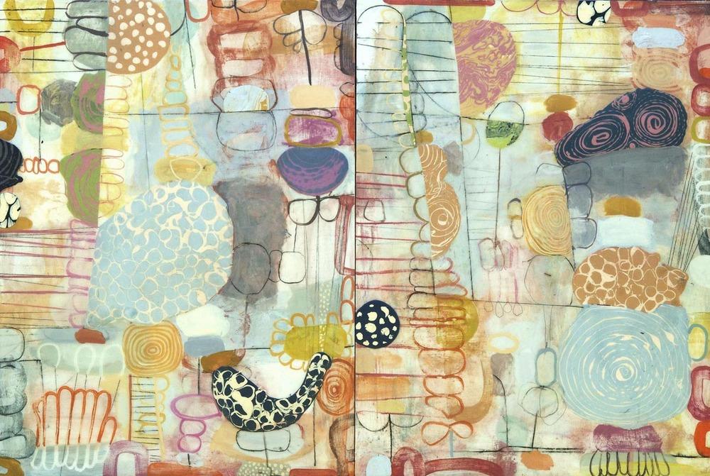 "Fool's Garden No. 1   2015  acrylic on panel  48"" x 72"""