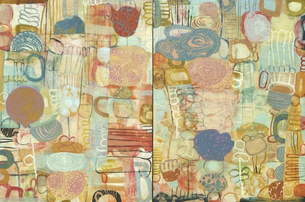 "The Fool's Garden No. 2  2015  acrylic on panel  48"" x 72"""