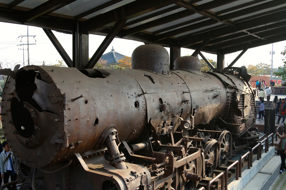 This train ran from North Korea to South Korea until the war broke out and it was pummeled with gun fire