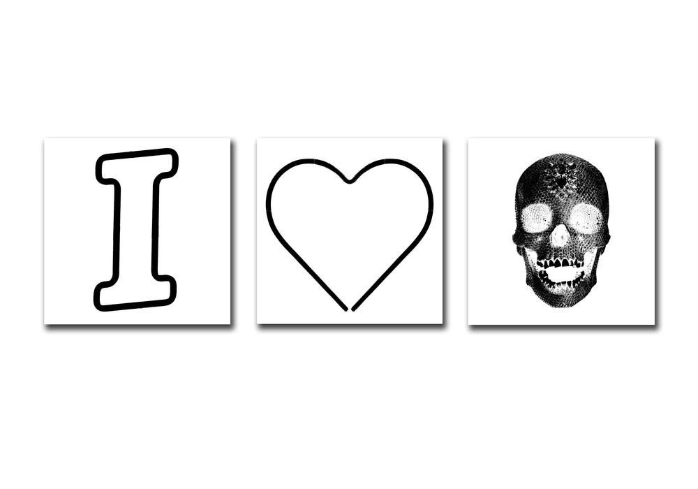 I HEART SKULLS - WHITE
