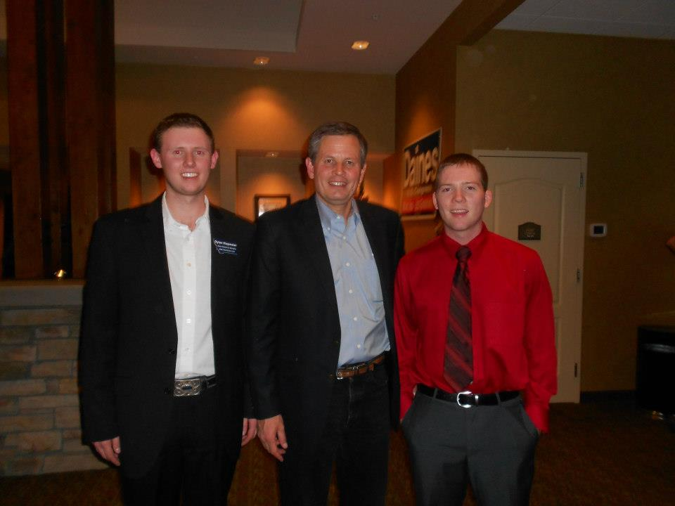 Brothers Dylan Klapmeier and Brandon Simpson with Congressman Steve Daines.