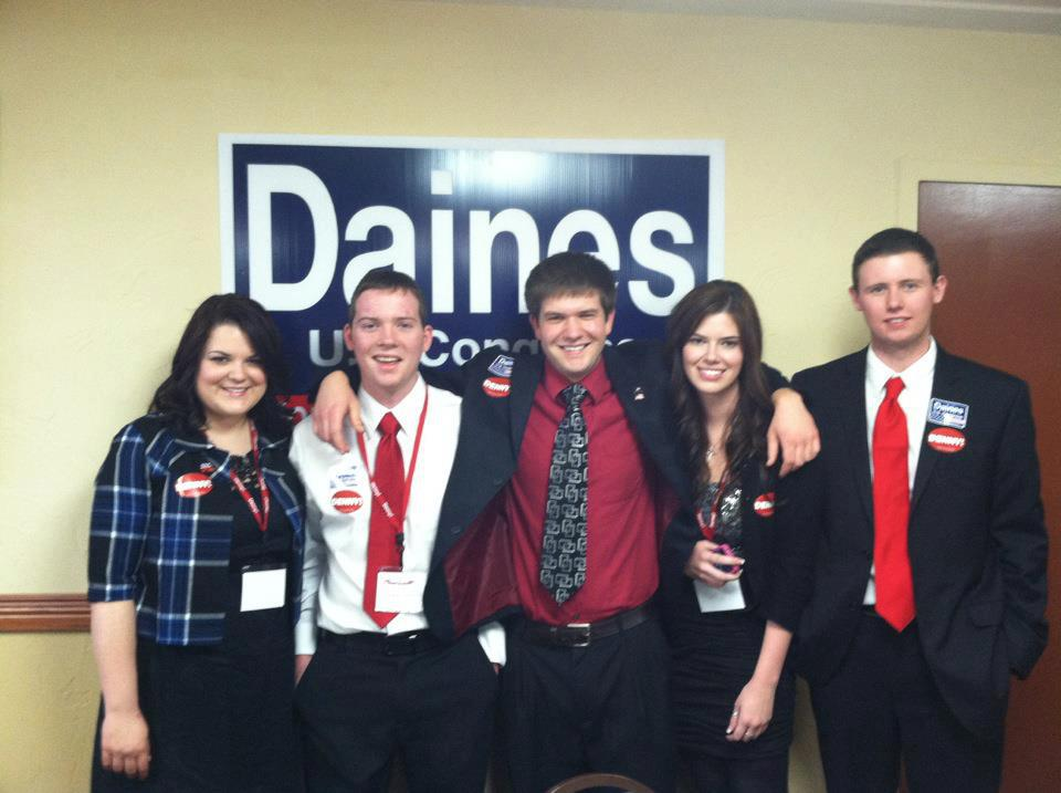 Brothers Brandon Simpson, Kyle Schmauch, Dylan Klapmeier, with the inters for the Steve Daines Senate Campaign.
