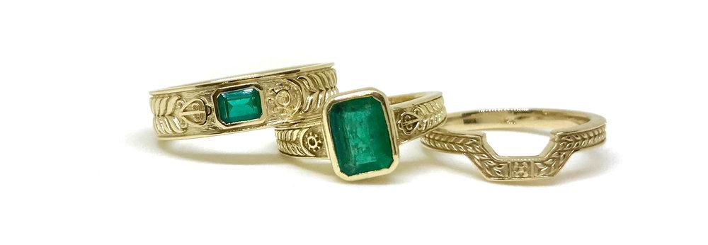 14k gold and Emerald Wedding set featuring West African Adinkra Symbols