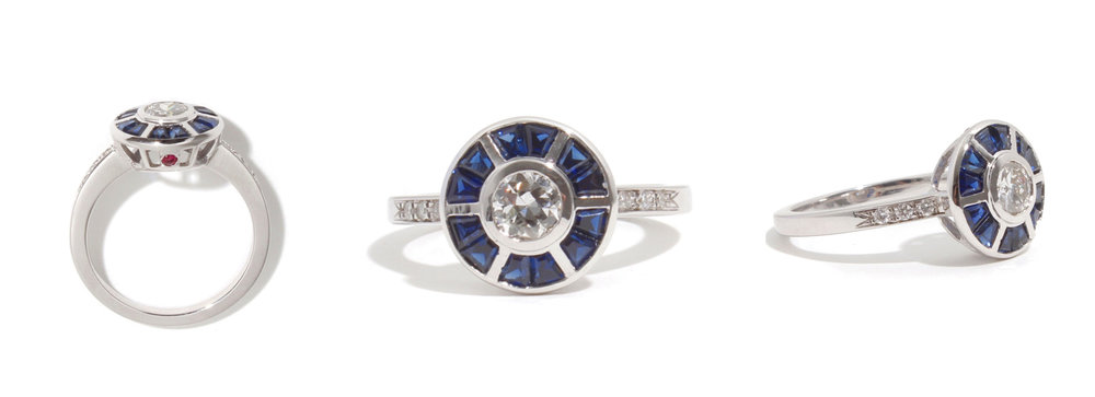 14k white gold Art Deco Style R2D2 themed ring featuring an antique diamond and Blue sapphires