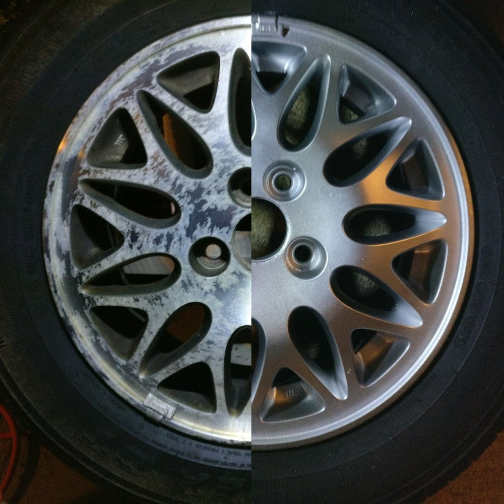 A simple before/after shot of the wheels