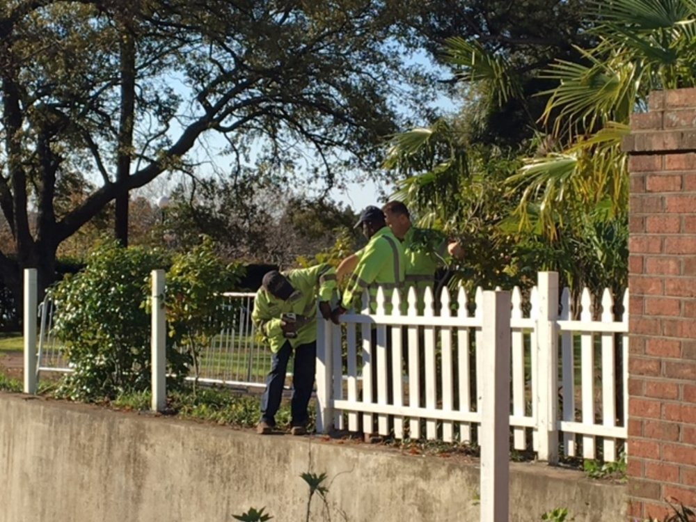 New fence being installed at Kaminski House.
